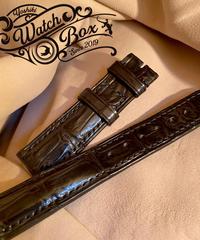 クロコダイル レザー 腕時計ベルト ブラック 20mm-18mm CRO-258