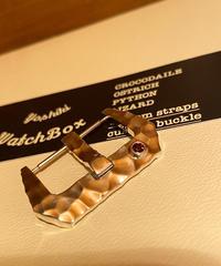シルバーカスタムオーダー ガーネット 925 腕時計ベルト用 バックル22mm ハンマートーン
