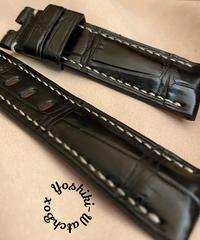 クロコダイル レザー 腕時計ベルト ブラック (ラグ幅22mm - バックル幅20mm) cro-479