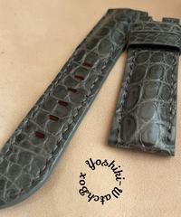 クロコダイル レザー 腕時計ベルト グレー (ラグ幅24mm - バックル幅22mm) cro-492
