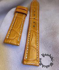 クロコダイル レザー 腕時計ベルト オレンジ (ラグ幅18mm - バックル幅16mm) cro-377