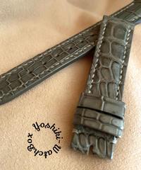 クロコダイル レザー 腕時計ベルト グレー (ラグ幅18mm - バックル幅16mm) cro-409