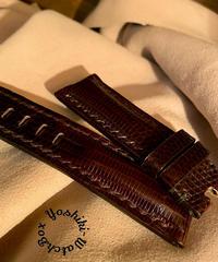 リザード レザー 腕時計ベルト ダークブラウン 22mm-20mm  LIZ-38