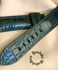 クロコダイル 腕時計ベルト グリーン 24mm-22mm CRO-320