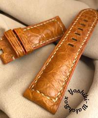 クロコダイル レザー 腕時計ベルト オレンジ (ラグ幅24mm - バックル幅22mm) cro-389