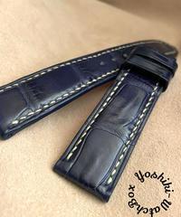 クロコダイルレザー 腕時計ベルト ブルー (ラグ幅20mm - バックル幅18mm) cro-358
