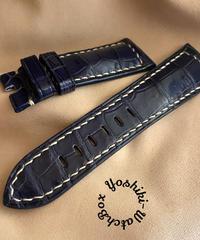 クロコダイル レザー 腕時計ベルト ブルー (ラグ幅26mm - バックル幅22mm) cro-420
