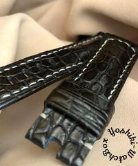 クロコダイルレザー 腕時計ベルト ブラック (ラグ幅22mm - バックル幅20mm) cro-334