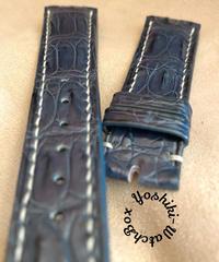 cro-613 クロコダイル レザー 腕時計 ベルト ネイビー (ラグ幅21mm - バックル幅18mm)