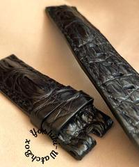 クロコダイルレザー 腕時計ベルト ブラック (ラグ幅22mm - バックル幅22mm) cro-341
