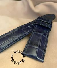 クロコダイル レザー 腕時計ベルト ネイビー (ラグ幅24mm - バックル幅22mm) cro-477