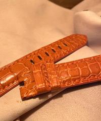 クロコダイル レザー 腕時計ベルト  オレンジ 22mm-20mm CRO-241