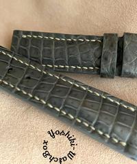 クロコダイル レザー 腕時計ベルト グレー (ラグ幅20mm - バックル幅18mm) cro-467
