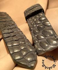 クロコダイル レザー 腕時計ベルト グレー 22mm-22mm CRO-276
