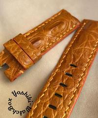 クロコダイル レザー 腕時計ベルト オレンジ (ラグ幅22mm - バックル幅22mm) cro-439