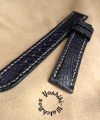 クロコダイル レザー 腕時計ベルト ブルー (ラグ幅18mm - バックル幅16mm) cro-365