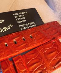 クロコダイル レザー 腕時計ベルト レッド 26mm-24mm CRO-161