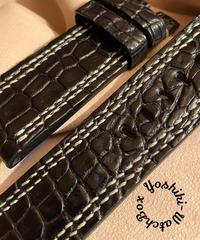 クロコダイル 腕時計ベルト ブラック 26mm-24mm CRO-292