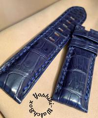 クロコダイル 腕時計ベルト ブルー 24mm-22mm CRO-316