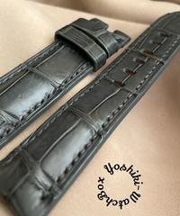 クロコダイル レザー 腕時計ベルト グレー (ラグ幅22mm - バックル幅20mm) cro-483