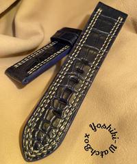 クロコダイル レザー 腕時計ベルト ブルー 24mm-22mm CRO-265