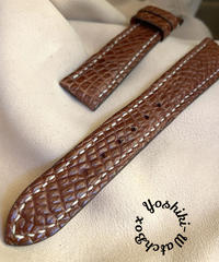 クロコダイル レザー 腕時計ベルト ブラウン (ラグ幅18mm - バックル幅16mm) cro-427