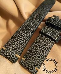 スティングレイ レザー 腕時計ベルト ブラック 22mm-20mm  STI-3