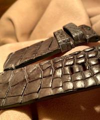 クロコダイル レザー 腕時計ベルト グレー 26mm-26mm CRO-253