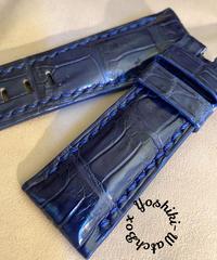 クロコダイル 腕時計ベルト ブルー 26mm-22mm CRO-321