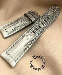 リザード レザー 腕時計ベルト ホワイト (ラグ幅22mm - バックル幅20mm) liz-62