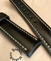 cod-58 コードバン レザー 腕時計ベルト ブラック (ラグ幅20mm - バックル幅18mm)