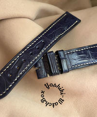 クロコダイル レザー 腕時計ベルト ブルー (ラグ幅20mm - バックル幅18mm) cro-426