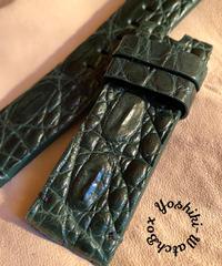 クロコダイル 腕時計ベルト グリーン 24mm-24mm CRO-294