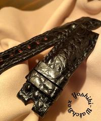 クロコダイル レザー 腕時計ベルト ブラック 26mm-22mm CRO-267