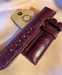 クロコダイル レザー 腕時計ベルト パープル 22mm-20mm CRO-138