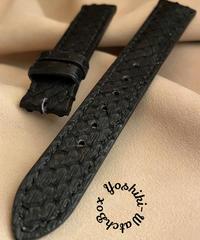 pyt-86 パイソン レザー 腕時計ベルト ブラック (ラグ幅18mm - バックル幅16mm)