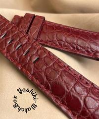 クロコダイル レザー 腕時計ベルト レッドプルーン (ラグ幅24mm - バックル幅22mm) cro-481