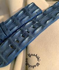 クロコダイル 腕時計ベルト ブルー 22mm-22mm CRO-310