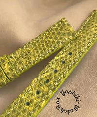 ※サンプル品 ※リザード レザー 腕時計ベルト イエロー (ラグ幅18mm - バックル幅16mm) liz-85