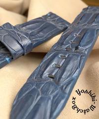 cro-578 クロコダイル レザー 腕時計 ベルト ライトブルー (ラグ幅26mm - バックル幅22mm)