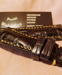 クロコダイル レザー 腕時計ベルト ブラック 26mm-22mm CRO-165