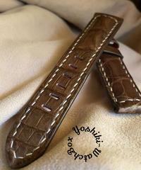 クロコダイル レザー 腕時計ベルト ブラウン (ラグ幅22mm - バックル幅20mm) cro-394
