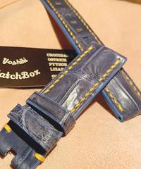 クロコダイル レザー 腕時計ベルト ライトブルー 24mm-22mm CRO-169