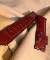 クロコダイル レザー 腕時計ベルト  レッドブラウン 22mm-20mm CRO-233