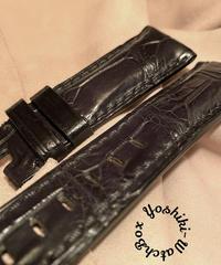クロコダイル レザー 腕時計ベルト ブラック 24mm-22mm CRO-274