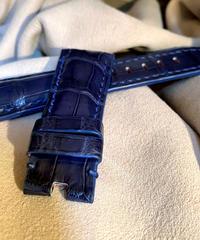 クロコダイル レザー 腕時計ベルト ブルー 26mm-22mm CRO-248