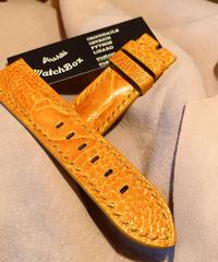 オーストリッチ レザー 腕時計ベルト オレンジ 24mm-22mm OST-46