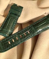 クロコダイル レザー 腕時計ベルト グリーン 26mm-22mm CRO-250