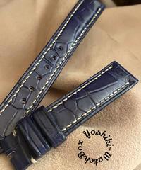 クロコダイル レザー 腕時計ベルト ブルー (ラグ幅18mm - バックル幅16mm) cro-404