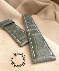 cro-623 クロコダイル レザー 腕時計 ベルト グレー (ラグ幅21mm - バックル幅18mm)